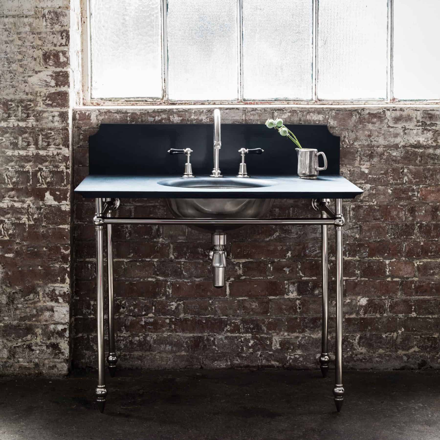 The Catchpole & Rye Pyrford Washstand in Silver Nickel and Natural Slate.