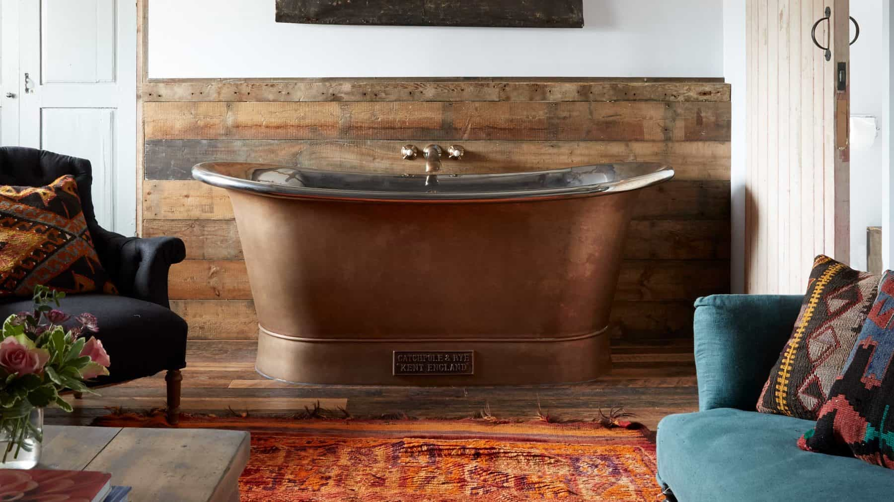 The Catchpole & Rye Copper Bateau with Weathered Exterior and Silver Nickel Interior.